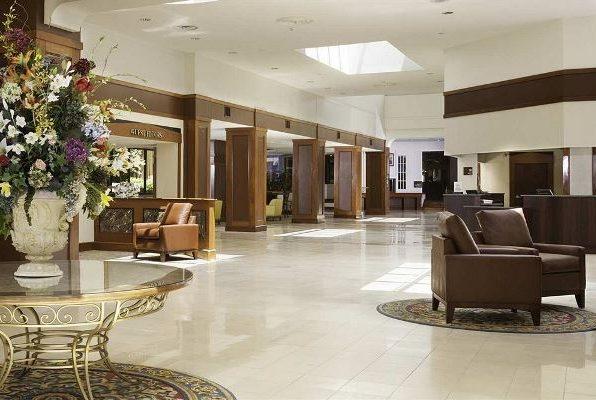 Lobby of the DoubleTree hotel in Williamsburg VA
